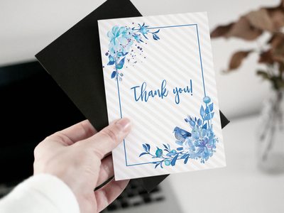Greeting card - Blue flowers watercolour watercolor greeting postcard blue flowers flower thanks thank you greeting card artwork design vector illustration vector art adobe illustrator vector illustrator artist illustration art