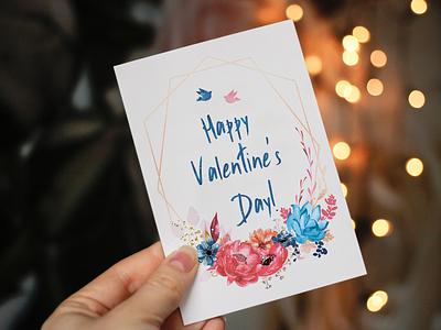 Happy Valentine's Day! valentine valentines day happy valentines day greeting card greeting postcard flowers flower watercolour watercolor artist artwork design vector illustration vector art adobe illustrator vector illustrator illustration art