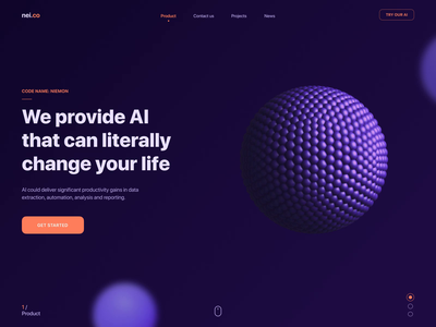 3D Interface for AI Product motion animated visual hover effect interaction interactive animation dark colors website homepage web design experimental 3d model orb sphere visual c4d cinema4d 3d design 3d