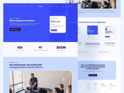 MicroAcquire Premium Page marketplace landing page ui business startup premium clean website product design web