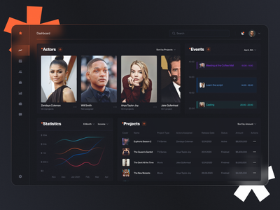 Dashboard for an Actor Management Web App chart statistics stats slick dashboard ui ux clean manager agent actor acting art industry management web design web application app web zajno
