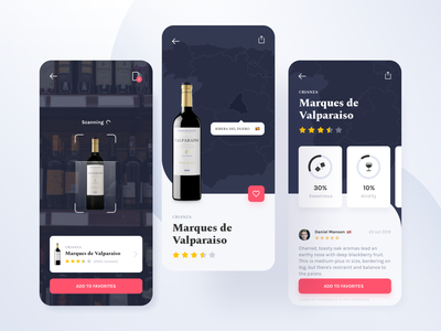Wine Guide AR Mobile App icon map rating layout interface minimal application simple mobile app vector flat clean ar product typography wine ui ux design mobile zajno