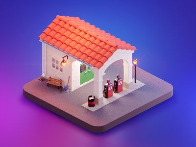 Gas station isometric ratched pump station gas render polygon poly low lowpoly cartoon blender b3d 3d