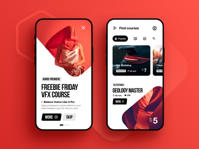 VFX Courses App figma inspiration iphone ios clean app ui ux android vfx 3d video class courses after effects