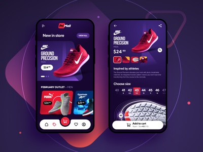 PriMall Sports Shoes training extreme shoes sport android ux ui app clean ios iphone inspiration figma