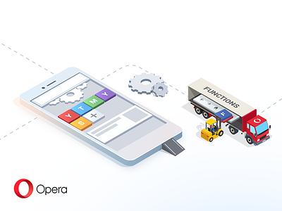 Opera for Android Beta Header cog functions phone beta construction header illustration opera