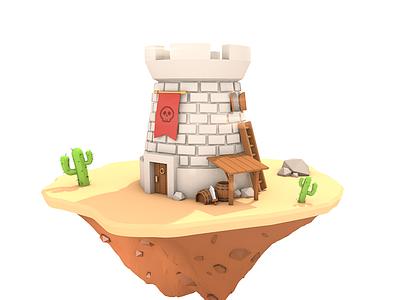 Desert tower tower war render model polygon photoshop cinema 4d c4d 3d