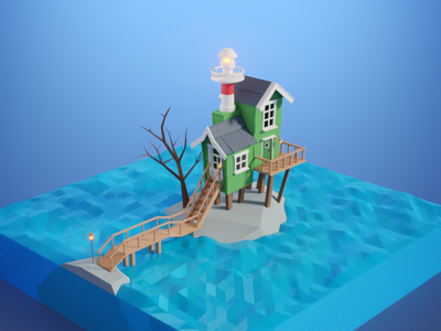 Lighthouse polygon photoshop low poly lowpoly lighthouse blender 3d