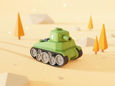 Tank cartoon desert war tank render polygon low poly lowpoly blender b3d 3d