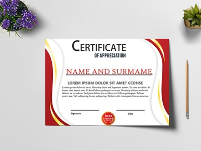 Certificate Free Vector Template Cdr file Download vector illustration 2020 illustration certificate design design certificate templates cdr