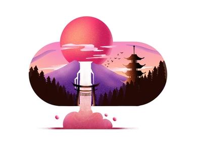 sunset landscape 🌄 illustration