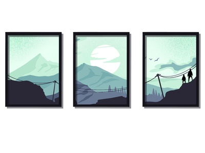 mountain sunrise illustration