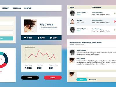 UI Kit sketch ui flat interface kit graph mail dialog messages status login profile