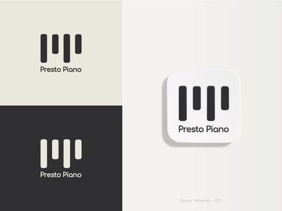 Presto Piano logo minimal vector piano keys icon branding design clavier piano logo paino logo