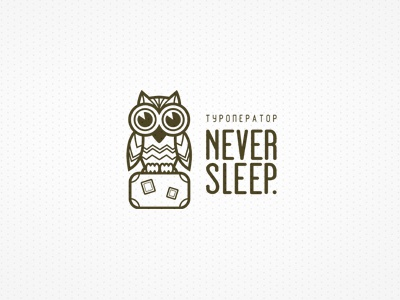 Never Sleep logo logotype lines owl suitcase travel tourism tour youth never sleep