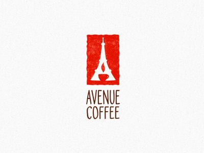 Avenue Coffee logotype logo coffee house coffee shop window a eiffel tower cup coffee