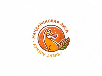 Mandarin Fox planet mandarin logotype logo illustration fruit fox animal
