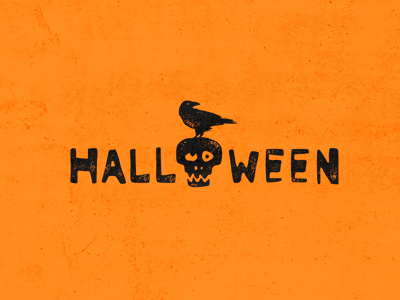 HALLOWEEN logotype logo lettering inscription raven skull crock crow halloween