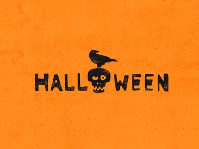 HALLOWEEN logotype logo lettering inscription raven skull crock crow halloween