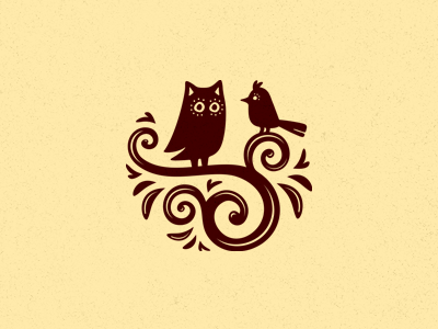 Кофе и круассаны handmade logo logotype emblem coffee owl lark bird birds croissants two