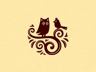 Кофе и круассаны handmade logo logotype emblem coffee owl lark bird birds croissants two