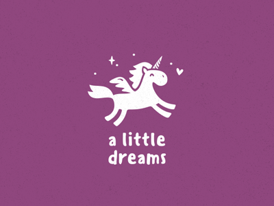 little dreams fantazy cute kid baby little dream animal horse unicorn logo logotype