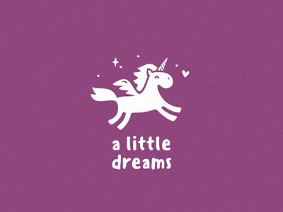 little dreams fantazy cute kid baby little dream animal horse unicorn logo logotype