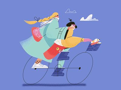 Girls on bike branding art texture feminine adobe animator motion graphics motion design path aftereffects girls bike bicycle dog motion design animation illustration 2d animation