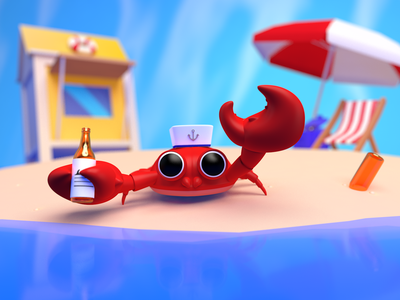 captain crab creative cool cartoon cartoonic fun c4d cinema4d seafish beach cute 3d path illustration ill sea beer crab