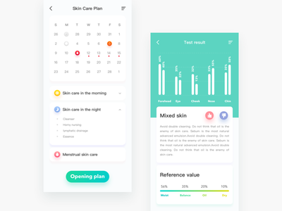FOR Me UI Redesign ui test skin home girl data care app