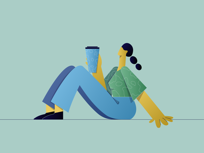 Coffee Break characterdesign character texture flat design coffee girl flat illustrator minimal ui vector procreate illustration design behance app