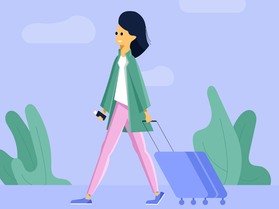 Solo Travel travel solo trip flat illustration character design characterdesign flat character illustrator ui minimal vector procreate illustration design behance app