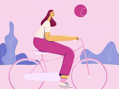 Cycling dribbble bicycle cycling flatcharacter flat 2d art freelance illustrator character illustration flat design characterdesign character design character illustrator behance vector procreate illustration