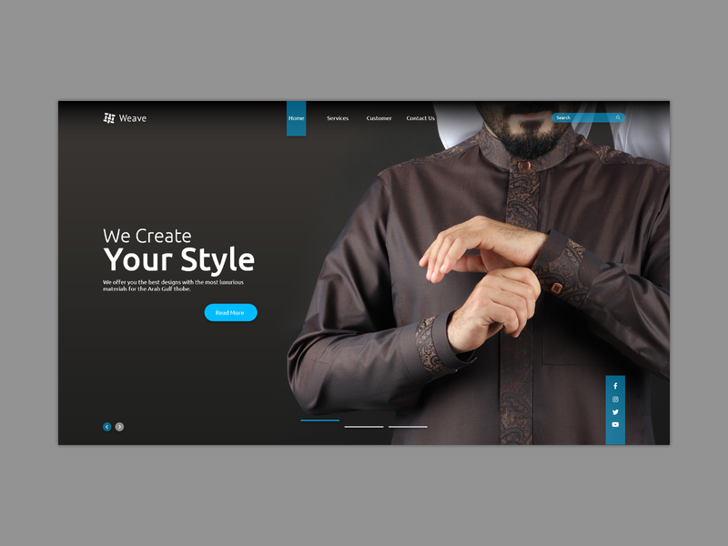 A landing page for a Middle East Arabian sewing industry branding website web flat ui ux design uxui webdesign