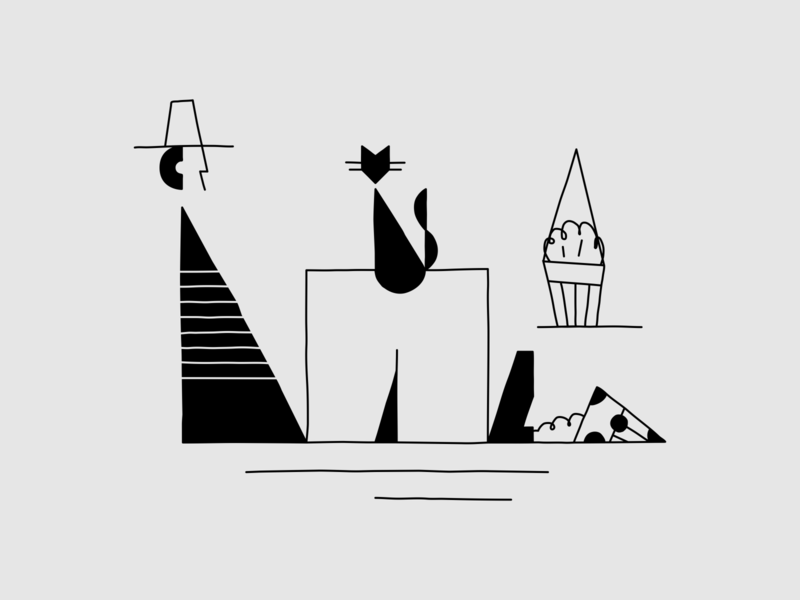 Habit to break a flowerpot 2d art lineart cat gentleman typography 36daysoftype vectornator flat illustration design