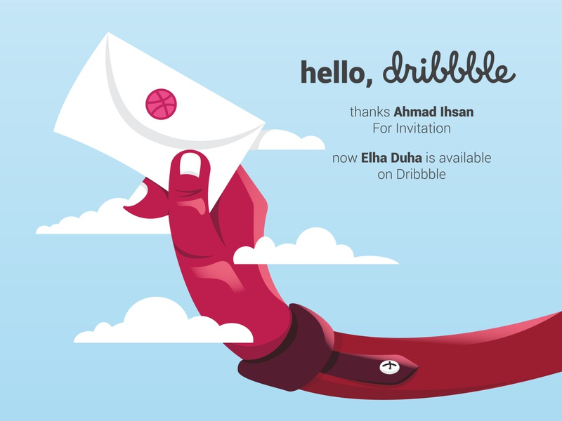 Hello Dribbble, Elha Duha is available on Dribbble design vector invitation sky flat illustration minimal flat illustration