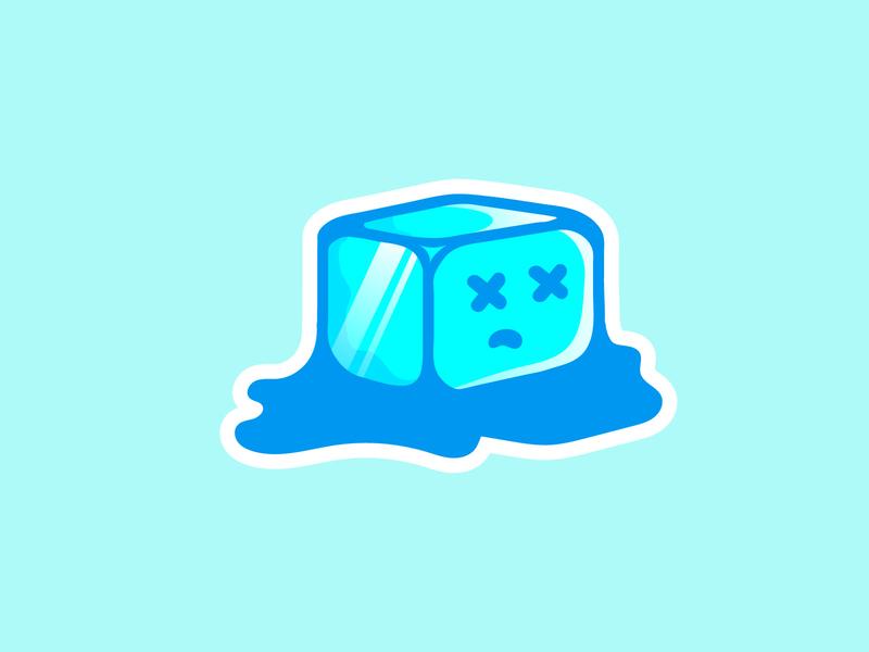Melting Ice mascott icon vector flat logodesign illustration design minimal logo