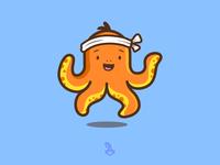 Octopus Sushi minimalist mascot logodesign illustration design minimal logo