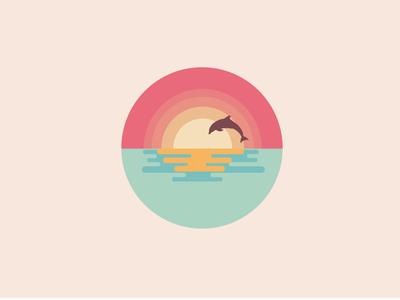 Beautiful Sunset Dolphin Scene