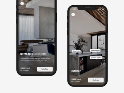 Apartment Tour apartment tour gallery ar vr rent image ui ux ios app back pin map offer interior button branding animation design