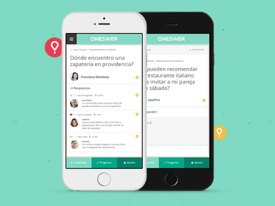 Oneswer user experience interface designer freelancer freelance app chile question chat iphone android