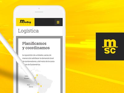 Medlog Chile — MSC logistics responsive web design santiago website chile yellow ux ui