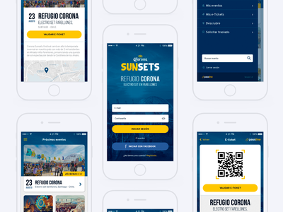 Mobile App Corona Sunsets qr code beer interface ticket chile party app corona ux ui app mobile
