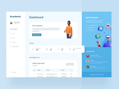 Online Test Dashboard exam online course ui concept ui dashboard dashboard app dashboard website concept design web websites website design ui design e-learning online exam online test dashboard ui dashboard design dashboad web design website webdesign