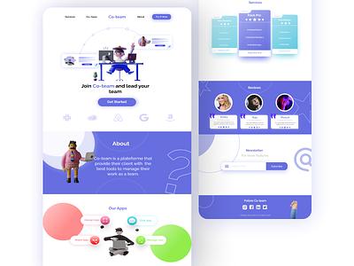 Landing Page for Co-team illustration web website webdesign uidesign ux ui ui-ux design interface