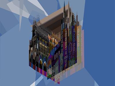 Krakow Abstract Isometric Vector Illustration glitchy glitch isometric isometric illustration abstract graphic design design vector illustrator flatdesign flat illustration adobe illustrator