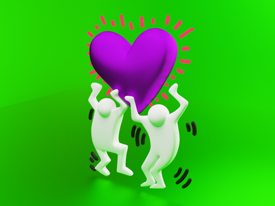 Keith Haring - Men Holding Heart 3D cycles b3d render blender blender3d love heart haring keith