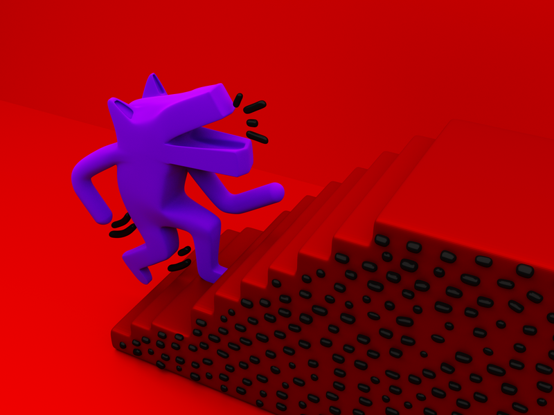 Keith Haring - Dog Walking Up Stairs 3D climbing render keith haring keith cycles blender3d blender b3d dog stairs 3d