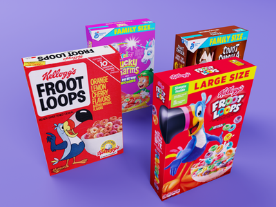 Cereal boxes 3D blendercycles cycles render b3d blender3d blender breakfast cereals countchocula luckycharms frootloops