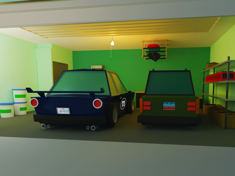 Garage Cars (low poly) garage cars car illustration cycles blendercycles render 3d blender3d b3d blender
